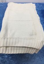 Bubba Blue Jacquard Knit Baby Cot Blanket 100% Cotton Cream
