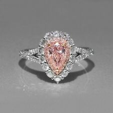 Certified 3.50ct Baby Pink Pear Diamond Engagement Ring in Real 14K White Gold