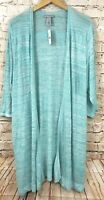 Catherines cardigan duster womens 2X new open front aqua pointelle 3/4 slv B2
