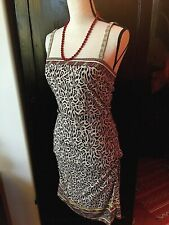 Nicole Miller Studio Silk/Spandex Rutched Dress Sz 6 Leopard