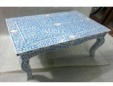 Handmade Bone Inlay Blue Floral Design Curved Leg Coffee Table