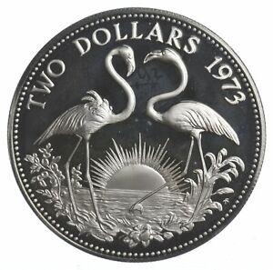 SILVER - WORLD COIN - 1973 Bahama Islands 2 Dollars - World Silver Coin *075