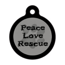LOVE PEACE RESCUE-Adoption dog Shelter Custom Personalized Pet ID Tag for Collar