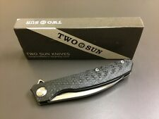 "Twosun TS111, New In Box, Carbon Fiber Handle, 3.25"" D2 Blade, Flipper Tab, KVT"