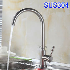 Brushed Stainless Steel Swivel Spout Kitchen Sink Basin Mixer Tap Single Lever