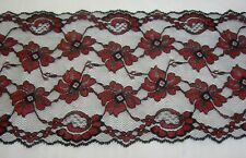 """Black & Red Lace 5 1/2"""" Floral Double Scallop Lingerie Clothing Craft 2 yd #4627"""