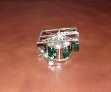 GRADUATION HAT ~SILVER PLATED FIGURINE MADE WITH BEST~*~AUSTRIAN CRYSTALS~ GREEN