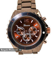 mens red chocolate heavy sports business watch bracelet big designer style