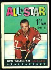 1967 68 TOPPS HOCKEY #125  KEN WHARRAM VG ALL STAR CHICAGO BLACK HAWKS