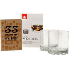 Whiskey Sippers Tasting Set - 2 Glasses, a Tasting Notebook & 9 Whiskey Stones