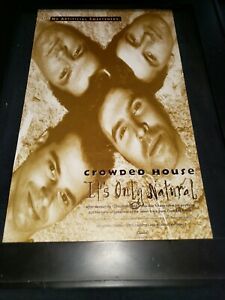 Crowded House It's Only Natural Rare Original Radio Promo Poster Ad Framed!
