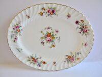 """Minton Marlow 12"""" Oval Serving Platter Globe Backstamp Pink Flowers Gold Rim"""