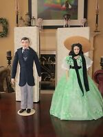"""FRANKLIN MINT HEIRLOOM 20"""" GONE WITH THE WIND SCARLETT & RHETT DOLLS WITH STANDS"""