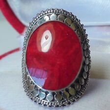 BEAUTIFUL! NATURAL  RED CORAL RING 925 STERLING SILVER. SIZE 7.5