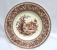 "Grindley England Brown DAFFODIL Pattern Transferware Rim Soup Bowl ~ 9 1/4"""