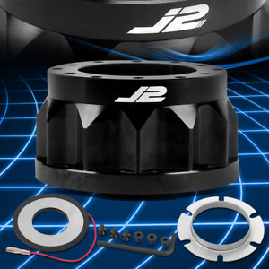 J2 For Nissan Truck 6-Hole Aluminum Black Steering Wheel Hub Adapter Replacement