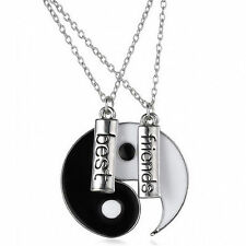 2 pcs Ying and Yang Yin Best Friends Rhinestones Breaken Pendant Necklace Gifts