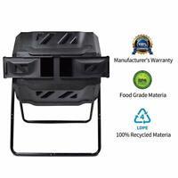Compost Tumbler 5 cu. ft. Tumbler Tumbling Composter Bin Black 2 Compartment