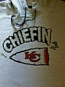 "KANSAS CITY CHIEFS ""CHIEFIN"" HOODIE SWEATSHIRT (GRAY)  SIZES: M,L,XL,2X"