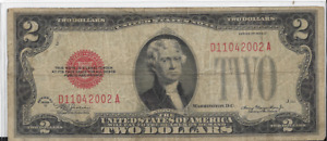 1928 D RED SEAL $2 UNITED STATES NOTE