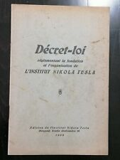 EDITION OF THE INSTITUTE NIKOLA TESLA 1939 - NEVER SEEN BEFORE