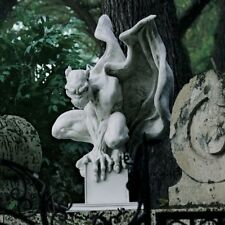 Large Gothic Gargoyle Vampire Statue White Stone & Resin Medieval Sculpture New!