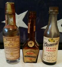 Vintage DUMONT, MARIE BRIZARD,and MONASTERE Mini Liqueur, Liquor bottles empty