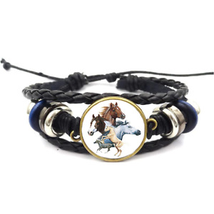 Horse Collage Glass Cabochon Bracelet Braided Leather Strap Bracelets