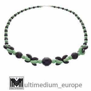 Art Deco Glas Halskette 30er Jahre Bohemia Modeschmuck Schwarz Grün 🌺🌺🌺🌺🌺