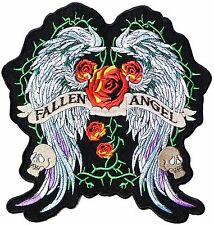 """Fallen Angel Wings Lady Rider Biker Big XL Embroidered Back Jacket Patch 10"""""""