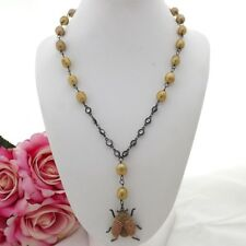 GE091308 22'' Champagne Rice Pearl Chain Beetle Cz Pave Pendant Necklace