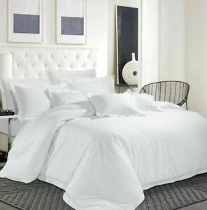 1000TC EgyptianCotton Duvet Quilt Cover Set White Solid UK S/DB/King/Sup/EmpSize