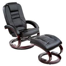 Fauteuil relax TV avec pouf tabouret avec pied en relaxation bois chaise noir