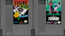 Evert & Lendl Tennis & Casino Kid Carts NES Nintendo with Black Sleeves