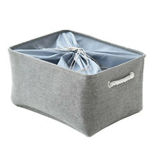 Cubby Storage Basket Organizer Bin with Drawstring Organizer Bin Box Grey