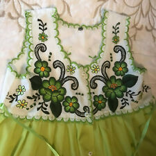 Rare Editions Lime Green Dress w/ /Floral Embroidery - Girls Size 6-8 - WOW!