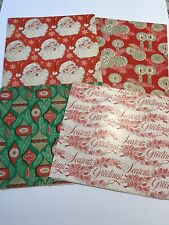 Vintage 1960's-1970's Set Of 4 Christmas Wrapping Paper Santa Ornaments MCM NOS