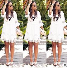 Damen Boho Kleid Locker Minikleid Spitze Abendkleid Strandkleid Sommer Oversize