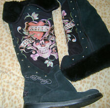 Ed Hardy Black Love Kills Tall Suede Fur Line Winter Tall Flat Boots Pre-Owned 6