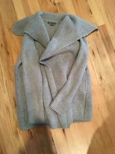 NWOT VINCE Honeycomb Shawl Wool Cardigan Sweater Coat Gray Sz M Cozy Open Thick
