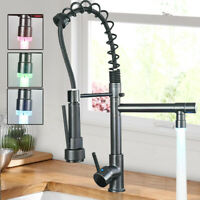 Modern Kitchen Faucet Pull Down Sprayer Single Handle Sink Tap with LED Light
