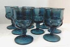 "8 Indiana Glass Thumbprint Teal Smoke Blue Kings Crown Cordials wine  4 1/4"""