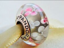 PANDORA GENUINE SILVER AND MURANO PINK AND WHITE BLOSSOMS FLOWERS CHARM BEAD