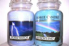 """SET OF 2 Yankee Candle  22 oz .""""STORM WATCH"""" & """"RAINBOW'S END"""" ~ WHITE LABEL~NEW"""