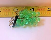 "NEW OLD stock handmade Green 2"" grape Clusters with Green leaf ornament prism"