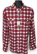 Ocean Coast Flannel Shirt XXL Red Plaid Stretch Lumberjack Rockabilly Men New