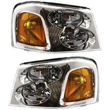 Headlight Set For 2002-2009 GMC Envoy 2002-2006 Envoy XL LH RH w/ bulb