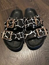 Senso Leopard Chunky Buckle Flat Sandals Size 4