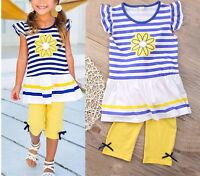 2PCS Toddler Kids Baby Girls Outfits T-shirt Dress Tops+ Crop Pants Clothes Sets