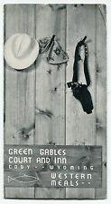 """Vintage Cowboy Menu: """"Green Gables Court & Inn Western Meals"""" [Cody, WY]"""